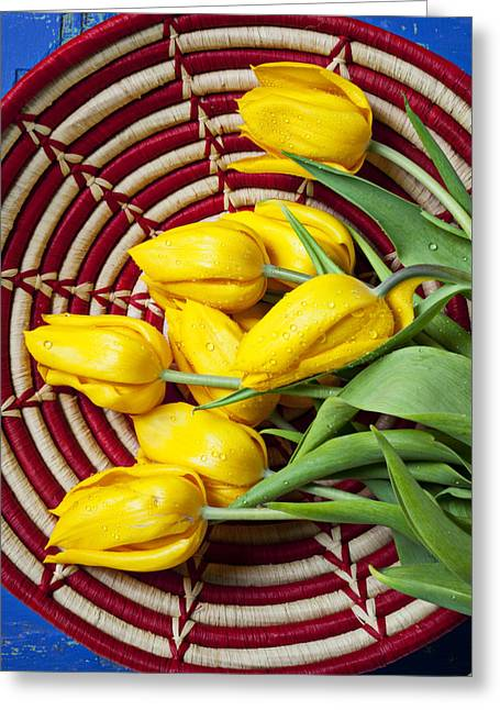 Baskets Photographs Greeting Cards - Basket full of tulips Greeting Card by Garry Gay