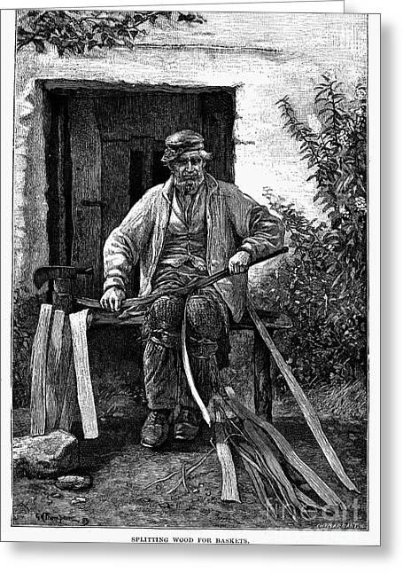 Basket Maker Greeting Cards - BASKET MAKER, 19th CENTURY Greeting Card by Granger