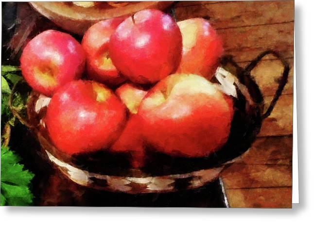 Basket Greeting Cards - Basket of Apples in Kitchen Greeting Card by Susan Savad