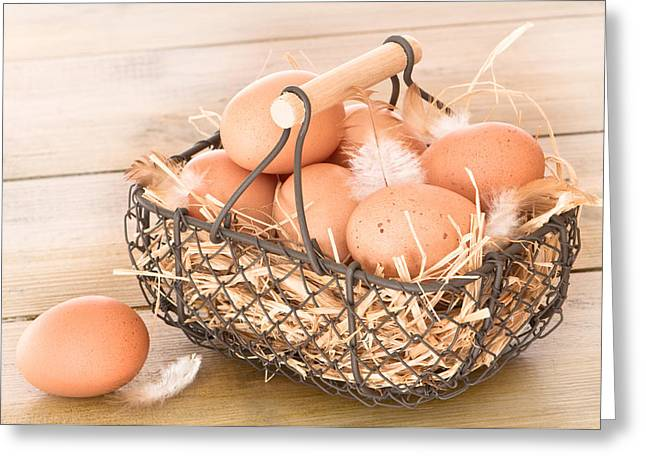 Free Range Hens Greeting Cards - Basket Of Eggs Greeting Card by Amanda And Christopher Elwell
