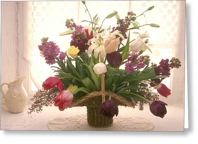 Pitchers Greeting Cards - Basket of flowers in window Greeting Card by Garry Gay