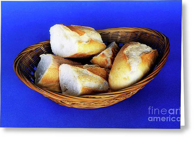 Ready-to-eat Greeting Cards - Basket of french baguette slices Greeting Card by Sami Sarkis