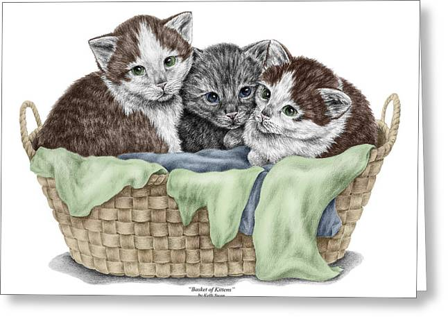 Cat Drawings Greeting Cards - Basket of Kittens - Cats Art Print color tinted Greeting Card by Kelli Swan
