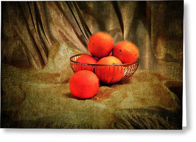 World Of Food Greeting Cards - Basket of Oranges Greeting Card by Jai Johnson