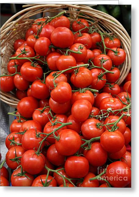 Basket Of Tomatoes - 5d17064 Greeting Card by Wingsdomain Art and Photography