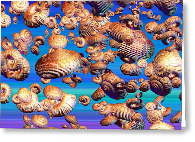 Colored Shell Digital Art Greeting Cards - Basket Snails in the Sky Greeting Card by Betsy A  Cutler