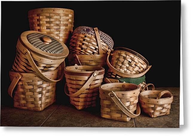 Baskets Photographs Greeting Cards - Basket Still Life 01 Greeting Card by Tom Mc Nemar