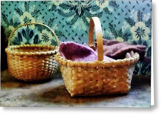 Baskets Greeting Cards - Basket With Knitting Greeting Card by Susan Savad
