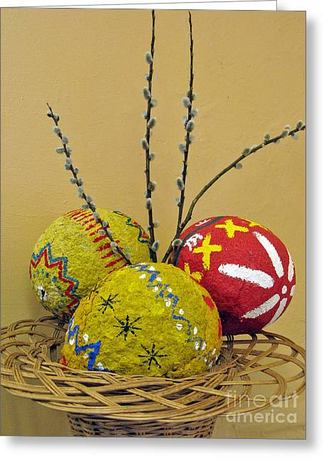 Crafts For Kids Greeting Cards - Basket with Papier-mache Eggs Greeting Card by Ausra Paulauskaite