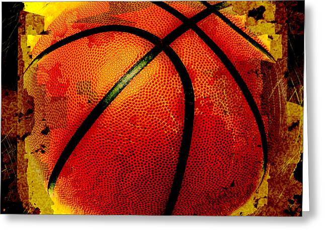 Basketball Abstract Greeting Cards - Basketball Abstract Greeting Card by David G Paul