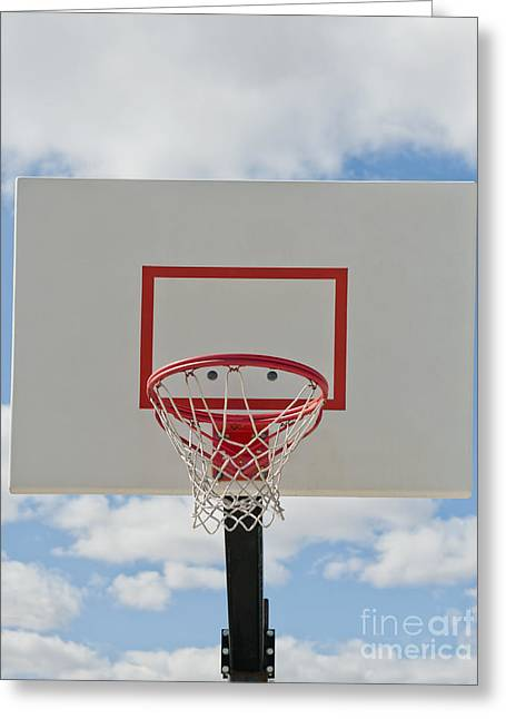 Backboards Greeting Cards - Basketball Backboard With Hoop and Net Greeting Card by Thom Gourley/Flatbread Images, LLC