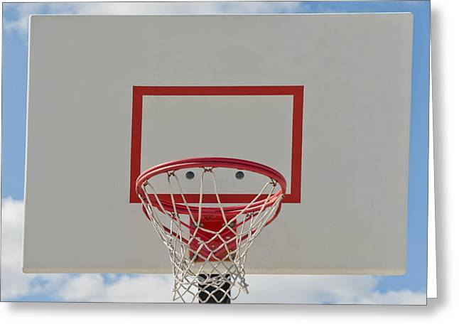 Basketball Backboard With Hoop and Net Greeting Card by Thom Gourley/Flatbread Images, LLC