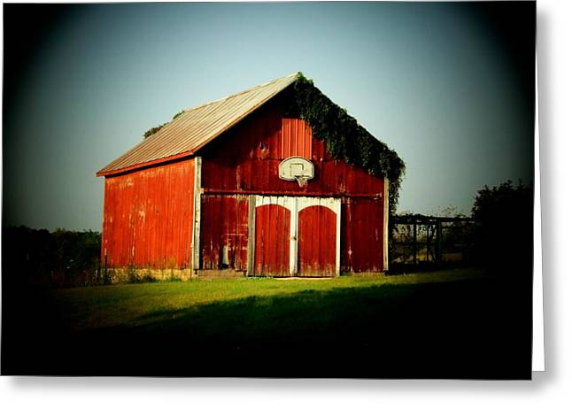 Best Sellers -  - Basket Ball Greeting Cards - Basketball Barn Greeting Card by Michael L Kimble