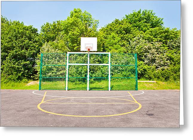 Schoolyard Game Greeting Cards - Basketball court Greeting Card by Tom Gowanlock