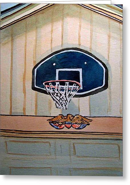 Basketballs Greeting Cards - Basketball Hoop Sketchbook Project Down My Street Greeting Card by Irina Sztukowski