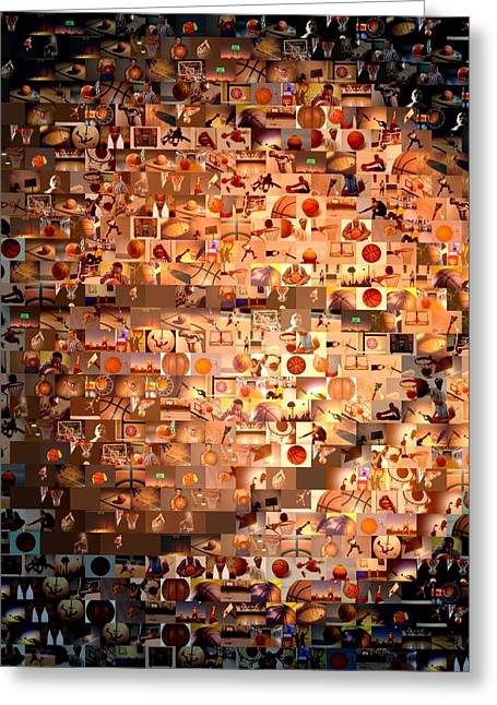 Orange Ball Greeting Cards - Basketball Mosaic Greeting Card by Paul Van Scott