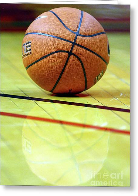 Best Sellers -  - Basket Ball Game Greeting Cards - Basketball reflections Greeting Card by Alan Look
