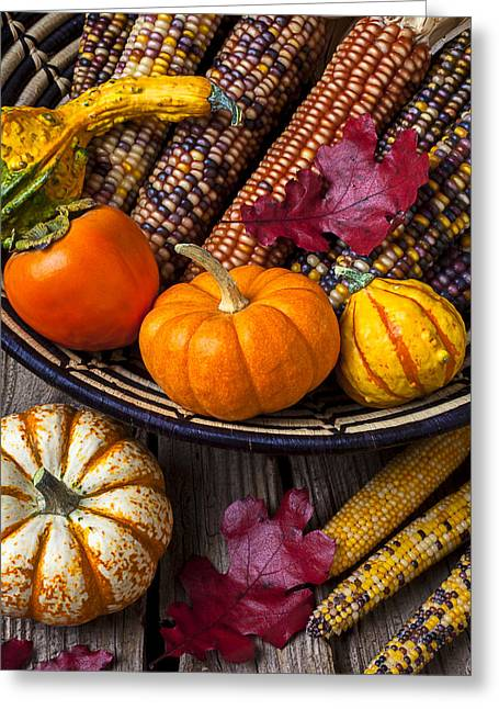 Gourd Greeting Cards - Basketful of autumn Greeting Card by Garry Gay
