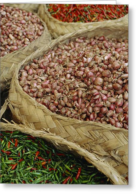 Food Vendors Greeting Cards - Baskets Of Chilies And Shallots Greeting Card by Justin Guariglia
