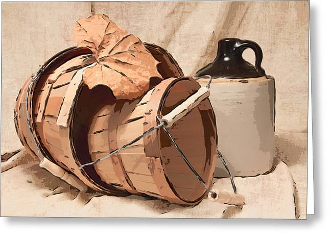 Baskets Photographs Greeting Cards - Baskets With Crock I Greeting Card by Tom Mc Nemar