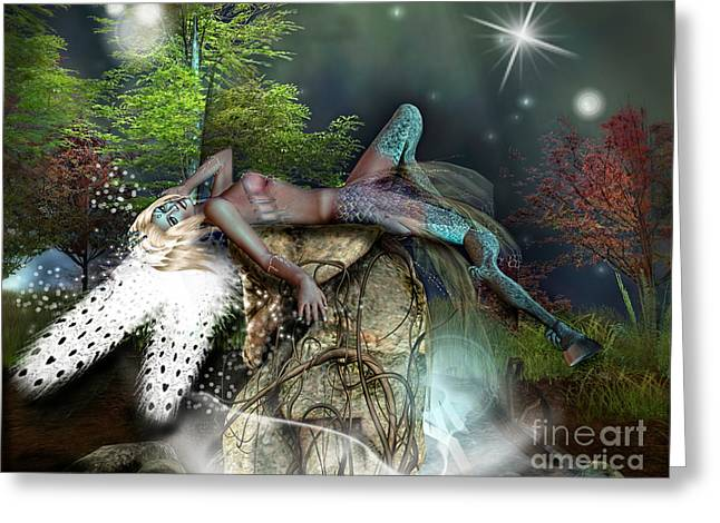 Angel Mermaids Ocean Greeting Cards - Basking in the moonlight Greeting Card by Georgina Hannay
