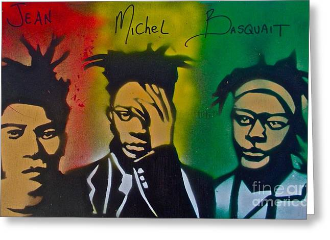 Free Speech Greeting Cards - Basquait Me Myself and I Greeting Card by Tony B Conscious