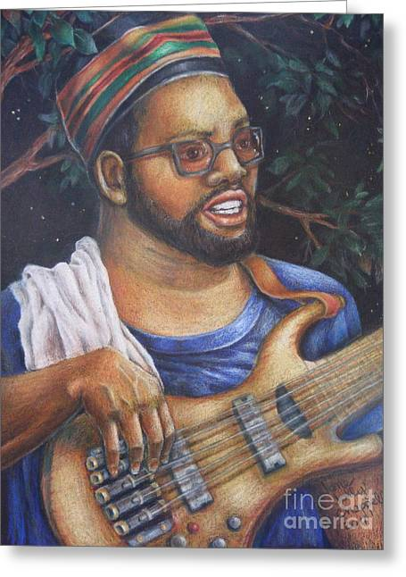 African American Man Drawings Greeting Cards - Bass at NIght Greeting Card by Jane Jolly Chappell