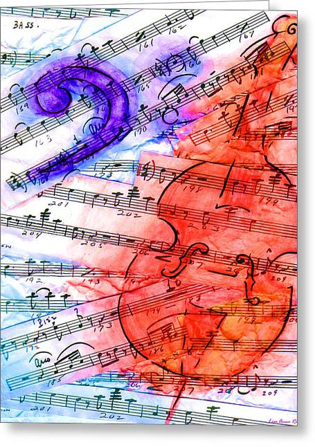 Stand Up Bass Greeting Cards - Bass Cut Sheet Greeting Card by Lisa A Bello