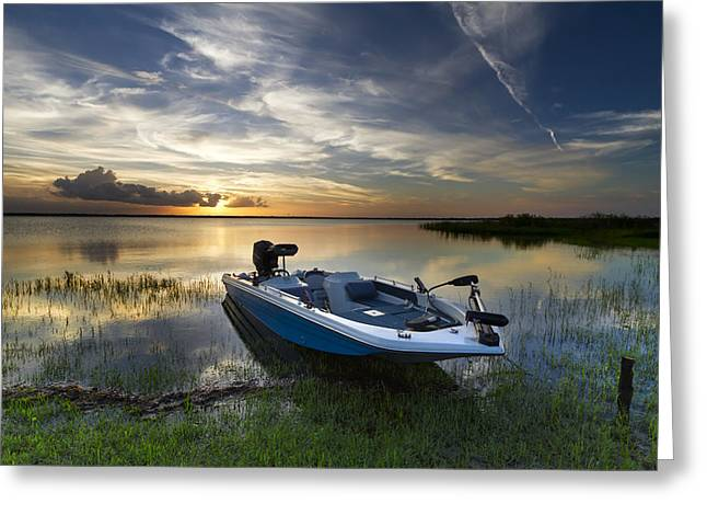 Canoe Photographs Greeting Cards - Bass Fishin Evening Greeting Card by Debra and Dave Vanderlaan