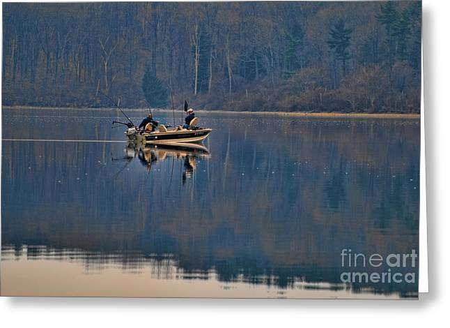 Bass Fishing Greeting Card by Paul Ward