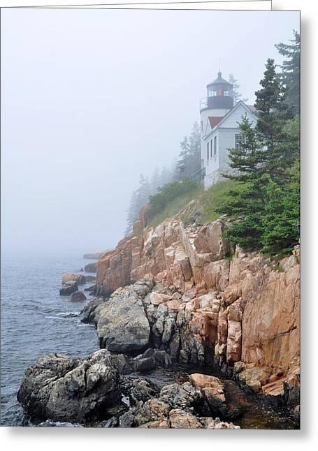 Jeff Moose Greeting Cards - Bass Harbor Head Lighthouse - Acadia Maine Greeting Card by Jeff Moose