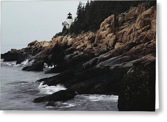 Bass Head Light Greeting Cards - Bass Harbor Head Lighthouse 1858 Greeting Card by Medford Taylor