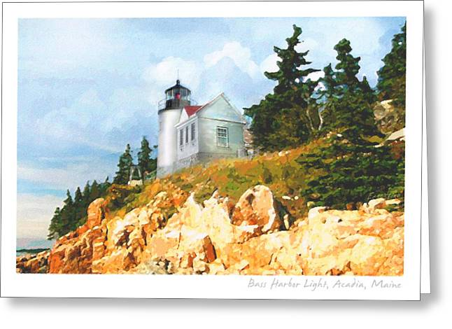 Maine Lighthouses Greeting Cards - Bass Harbor Light Greeting Card by Ernestine Grindal