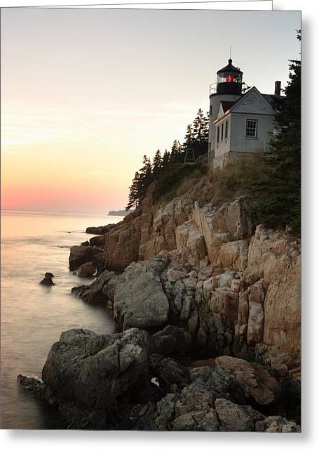 Maine Shore Greeting Cards - Bass Harbor Lighthouse Greeting Card by Eric Foltz