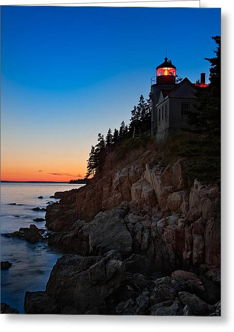 Acadia National Park Photographs Greeting Cards - Bass Harbor Lighthouse Maine Greeting Card by Steve Gadomski