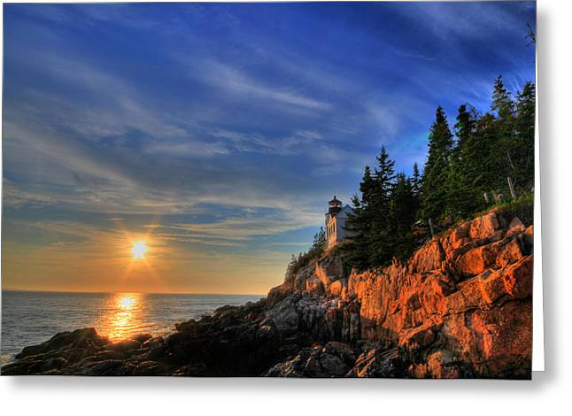 Sbatdorf Greeting Cards - Bass Harbor LightHouse Greeting Card by Sharon Batdorf