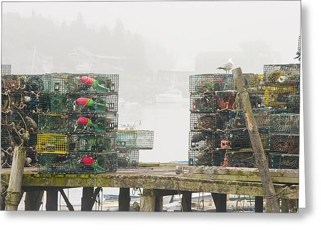 Maine Spring Greeting Cards - Bass Harbor Lobster Traps Maine  Greeting Card by Keith Webber Jr