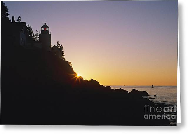 Bass Head Light Greeting Cards - Bass Head Light Lighthouse at Sunset Greeting Card by Jeremy Woodhouse