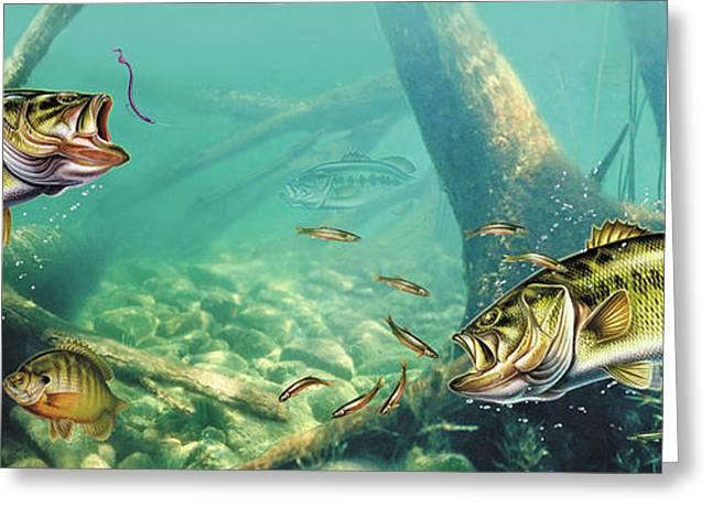 Largemouth Greeting Cards - Bass Lake Greeting Card by JQ Licensing