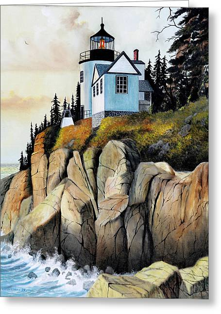 Maine Lighthouses Greeting Cards - Bass Light Greeting Card by Don Griffiths