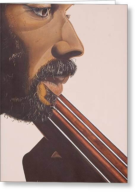 Double Bass Greeting Cards - Bass Player IV Greeting Card by Kaaria Mucherera