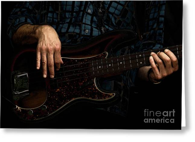 Bass Player Greeting Cards - Bass Side Blues Greeting Card by Steven  Digman