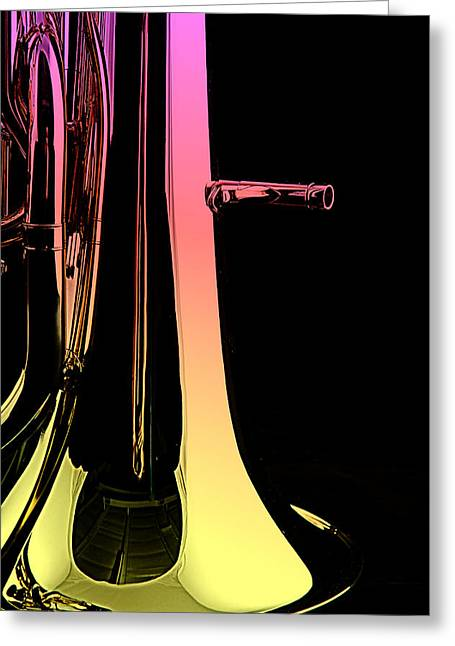 Bass Tuba Isolated On Black Greeting Card by M K  Miller