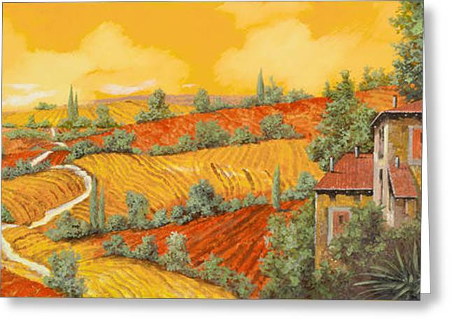 Vineyards Paintings Greeting Cards - Bassa Toscana Greeting Card by Guido Borelli