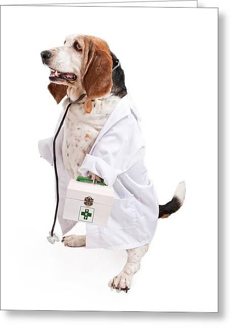 Breeds Greeting Cards - Basset Hound Dog Dressed as a Veterinarian Greeting Card by Susan  Schmitz