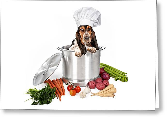 Sad Eyes Greeting Cards - Basset Hound Dog in Big Cooking Pot Greeting Card by Susan  Schmitz