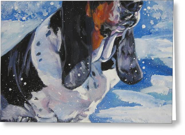 basset Hound in snow Greeting Card by L A Shepard
