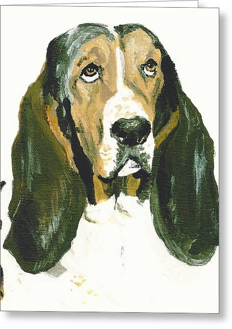 Hound Pastels Greeting Cards - Basset Smokey Greeting Card by Jessica Raines