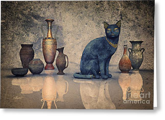 Reflexions Greeting Cards - Bastet and Pottery Greeting Card by Jutta Maria Pusl