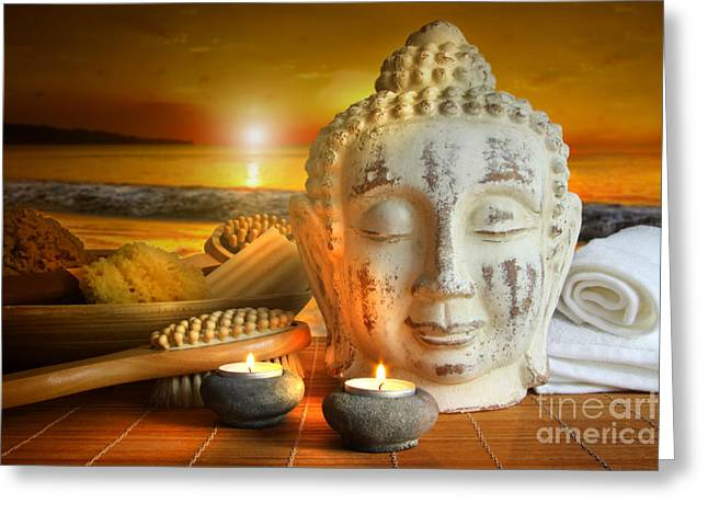 Cleansing Greeting Cards - Bath accessories with buddha statue at sunset Greeting Card by Sandra Cunningham